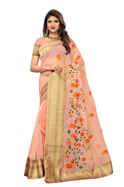 YOYO FashionNew Latest Poli Net Pesch Embroidered Saree With Blouse $ YOYO-SARI2638