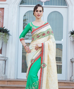 Fashion FizaYellow Georgette And Bhaglpuri Butti EMBROIDERY Saree with blause pice