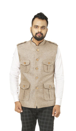 Singhal Fashion Jute Beige Color Sleeveless Hunting Jacket