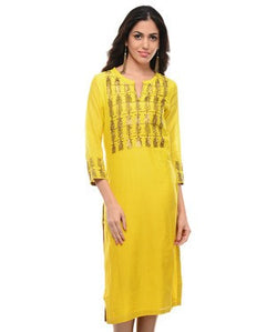 ABHIJEET KHANNA Yellow 3/4th Sleeve Kurta