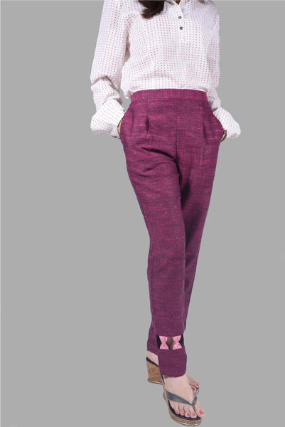 Wine Khadi Trouser with Pink Bow Detailing $ IWK023