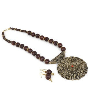 aradhya Metal Jewel Set (Brown, Gold)