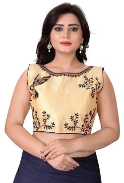 YOYO Fashion Beige Malbari Embriodered Extra Sleeve With Blouse $ YOYO1-BL4009-Black