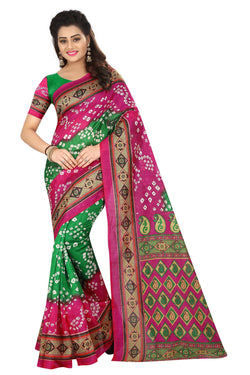 16TO60TRENDZ Pink Color Printed Bhagalpuri Silk Saree $ SVT00437