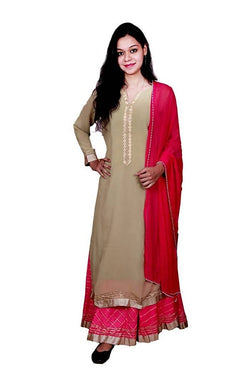 Libas Closet Georget kurta stitched with Golden lace inner attached,gotta patti cotton skirt $ Libas Closet-037