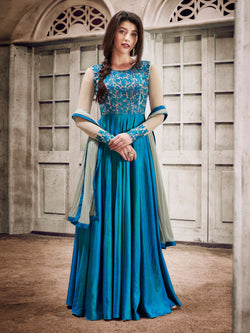 YOYO Fashion Designer Fancy Silk Sky Blue Anarkali Gown Salwar Suit - F1129-Sky blue