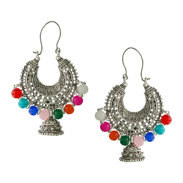 Parna Designer Multicolor Beads Alloy Oxidised Silver Plated Chandilier Jhumki Earring $ EAR-155