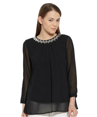VIRO Round Neck Georgette fabric Black color Top