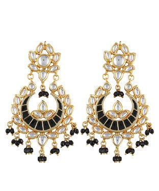aradhya Beads, Crystal, Pearl Alloy, Metal, Copper Chandbali Earring