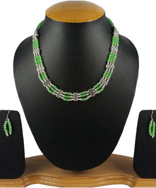 Aradhya Stone, Crystal Jewel Set (Green, Silver)