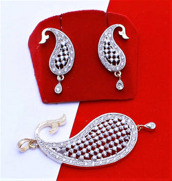 Ankita Fashion Gold Plated American Diamond AD Jari Keri pendant set $ AF78861235