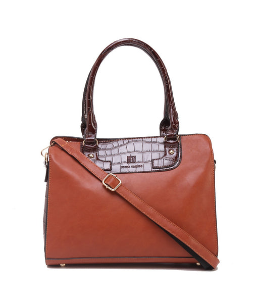 Fiona Trends Brown PU Shoulder Bag,105_BROWN