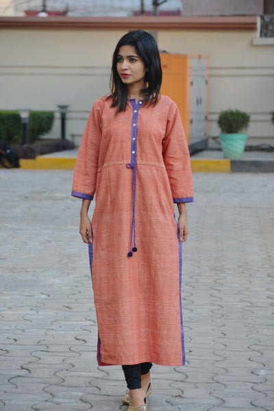 Orange Khadi Cotton Drawstring Tunic $ IWK-000705