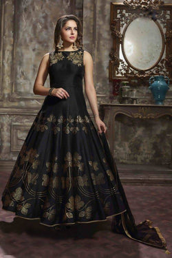 Manvi Fashion Women's Zelber Silk Fabric With Fusing Black Color Handworked Gown $ MF 1574