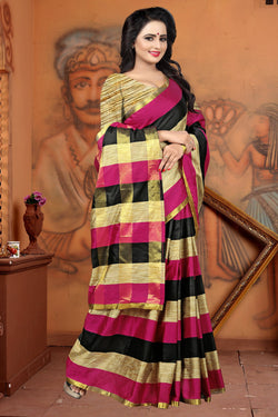 YOYO Fashion Latest Fancy Dupion Green Saree $ SARI2578 Pink