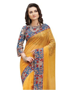 Laethnic Yellow Plain Supernet Saree
