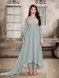 YOYO Fashion Georgette Anarkali Semi-Stitched salwar suit $ FF1135-Grey