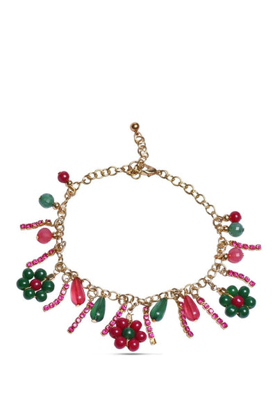 Bauble Burst Beaded Flowers Anklet