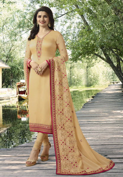 YOYO Fashion Beige Georgette Straight Semi-Stitched Salwar Suit With Dupatta $ F1277
