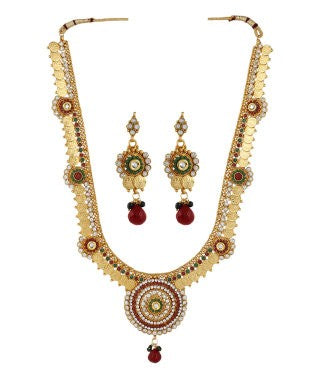 Aradhya Copper, Brass, Stone Jewel Set (Gold, Green, Red, White)