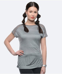 United Colors Of Benetton Grey And Offwhite S/S Top
