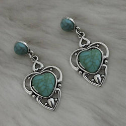 Tanishka Fashion Silver Plated Green Turquoise Stone Dangler Earrings $ 1310870D