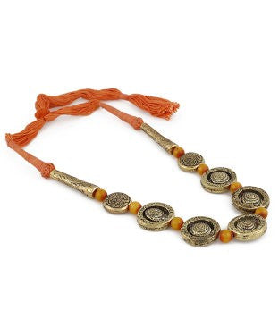 Aradhya Pearl Copper Plated Cotton Dori, Copper Necklace