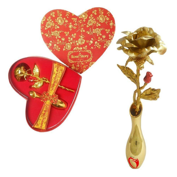 INTERNATIONAL GIFT 24K Gold Rose Stand with Beautiful Love Shape Packing (18 cm, Gold) $ TU-FSPT-8DWF