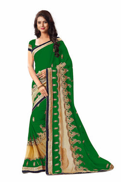 16to60trendz Green Georgette Embroidery Designer Saree $ SVT00263