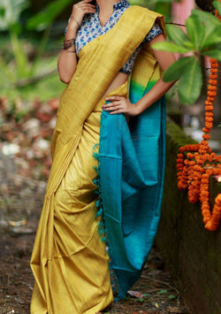 Khadi Silk Sarees in Corn Yellow and Blue $ IWK-00557