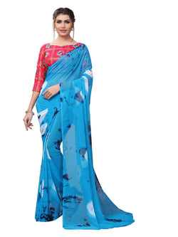 YOYO Fashion Printed Georgette Blue Saree With Blouse $YOYO-SARI2618-Blue