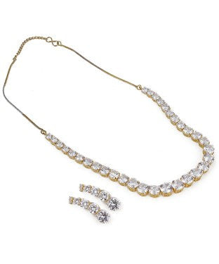 aradhya Alloy Jewel Set (White, Gold)