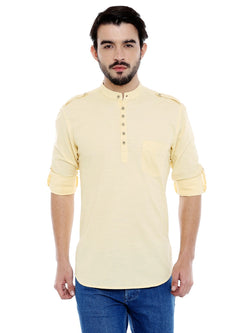 Roller Fashions Men's Solid Casual Yellow Kurta Shirt $ C3SY0Y-P