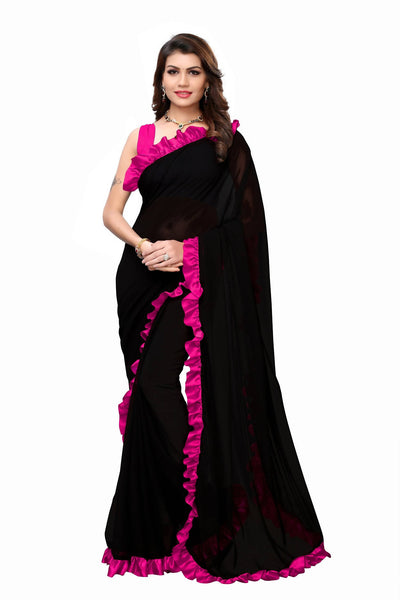 YOYO Fashion Georgette Plain Black saree with Blose $ SARI2654-Pink