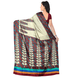 BL Enterprise Women's Bhagalpuri Cotton Silk Cream Color Saree With Blouse Piece $ BLLB-52