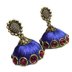 Ailsie Stylish Jhumka Earrings For Women Fashion Beautiful Sliver Antique Flower Design Silk Thread Earring - Dark Blue