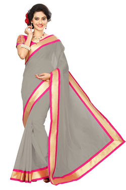 16to60trendz Grey Chanderi Lace Work Chanderi Saree $ SVT00074