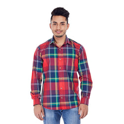 EVOQ Men's Dual Toned Checkered Shirt With Left Patch Pocket And Full Sleeves-Crimson Jack_Red
