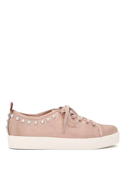 London Rag Women Pink Metallic Pearl Lace Up Sneakers $ SH1587