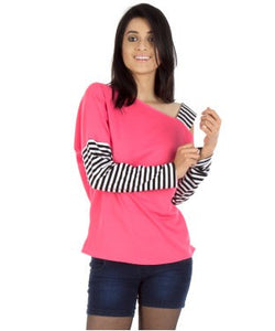 Vea Kupia Pink, Black And White F/S Top