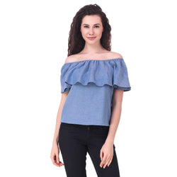 Fame16 Half Sleeve Solid Women'S Off Shoulder Neck Blue Denim Top $ F16-1600205
