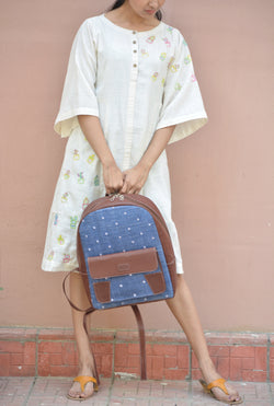 Khadi and Leatherite Star Embroidery Blue Laptop Bag $ IWK-LPBAG-04