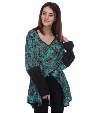 Blue Lotus Green And Multi F/S Top