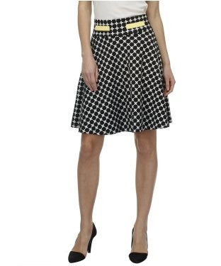 Glam a gal black and white kneelength skirt