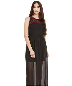 Miway Black Georgette A-Line Dress