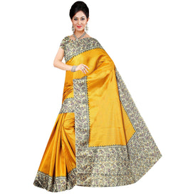 BL Enterprise Women's Bhagalpuri Cotton Silk Yellow Color Saree With Blouse Piece $ BLLB-45