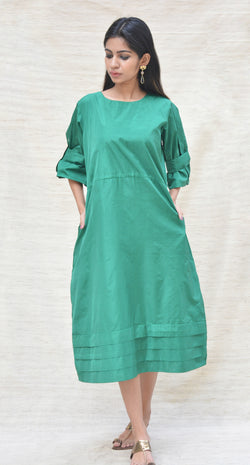 Green Khadi Silk Straigth Fit Tunic $ IWK-000370