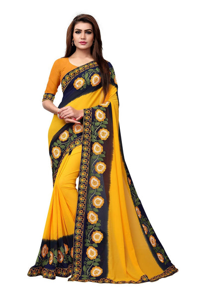 YOYO Fashion Embroidered Georgette Yellow Saree With Blouse $SARI2613-Yellow