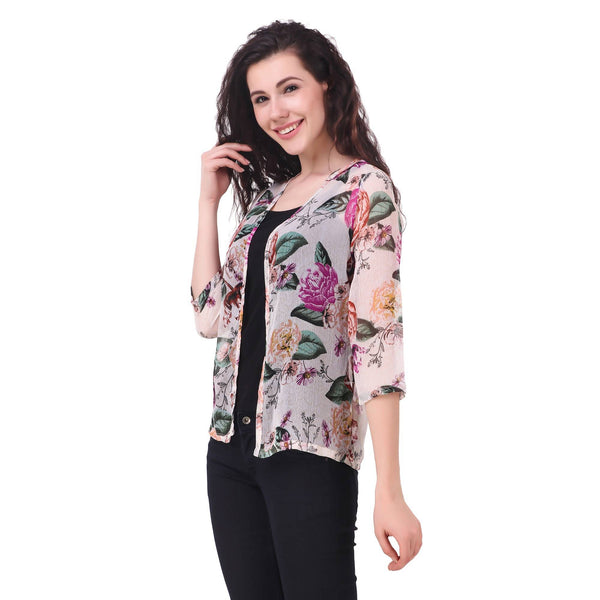 Fame 16 Three querter Sleeves Women's Cream Chiffon Floral Printed Shrugs $ F16-1600191