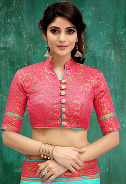 Manvi Fashion Pink Color Border Piping Work Broket in Fabric Party Wear Readymade Blouse $ MF 3104